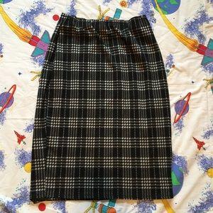 Vintage 80s Tartan Knit Pencil Skirt